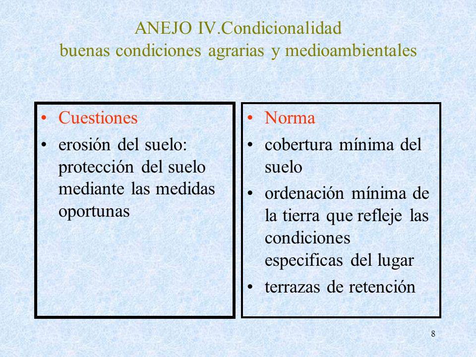 8 ANEJO IV.Condicionalidad buenas condiciones agrarias y medioambientales Cuestiones erosión del suelo: protección del suelo mediante las medidas opor