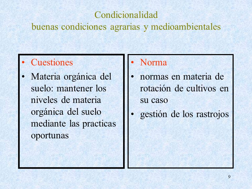9 Condicionalidad buenas condiciones agrarias y medioambientales Cuestiones Materia orgánica del suelo: mantener los niveles de materia orgánica del s