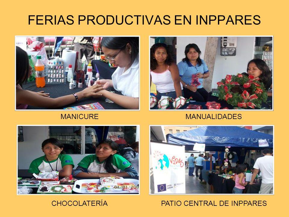 FERIAS PRODUCTIVAS EN INPPARES MANICURE CHOCOLATERÍA MANUALIDADES PATIO CENTRAL DE INPPARES
