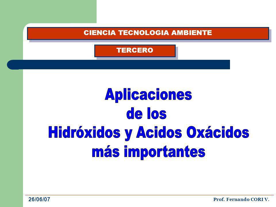 HIDRÓXIDOS El hidróxido de sodio se usa para fabricar jabones, rayón, papel, explosivos, tinturas y productos de petróleo.