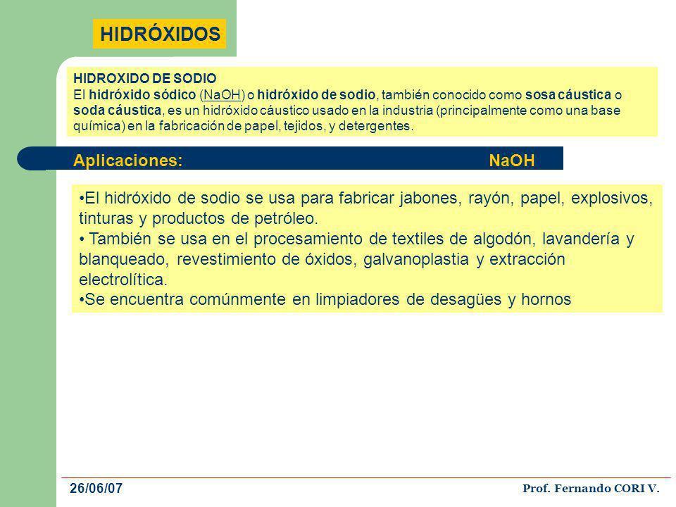 HIDRÓXIDOS El hidróxido de sodio se usa para fabricar jabones, rayón, papel, explosivos, tinturas y productos de petróleo. También se usa en el proces