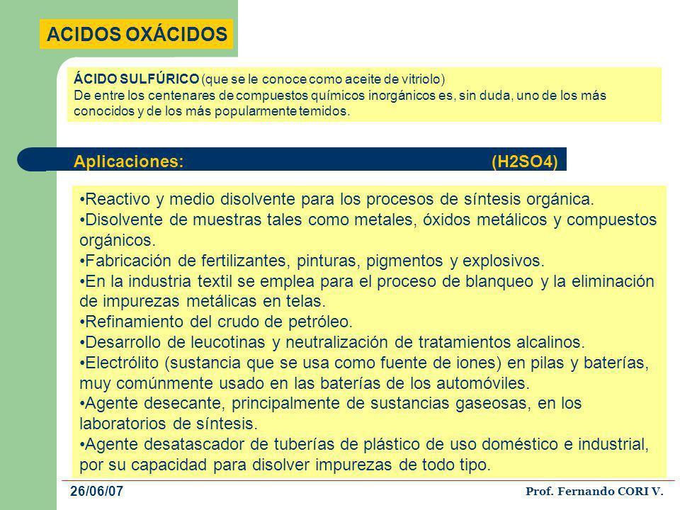 ACIDOS OXÁCIDOS El HNO3 es uno de los ácidos mas importantes desde el punto de vista de vida industrial, pues se le consume en grandes cantidades en la industria de los abonos, colorantes, explosivos, fabricación del ácido sulfúrico, medicamentos y grabado de metales.