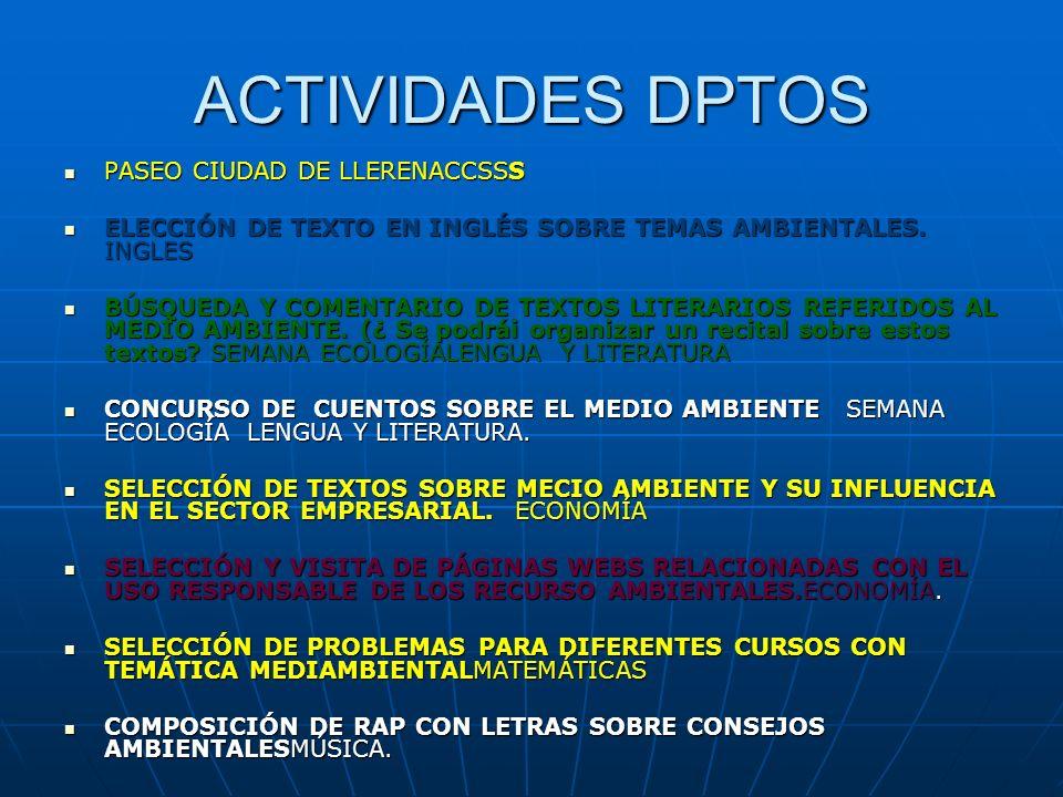ACTIVIDADES DPTOS PASEO CIUDAD DE LLERENACCSSS PASEO CIUDAD DE LLERENACCSSS ELECCIÓN DE TEXTO EN INGLÉS SOBRE TEMAS AMBIENTALES. INGLES ELECCIÓN DE TE