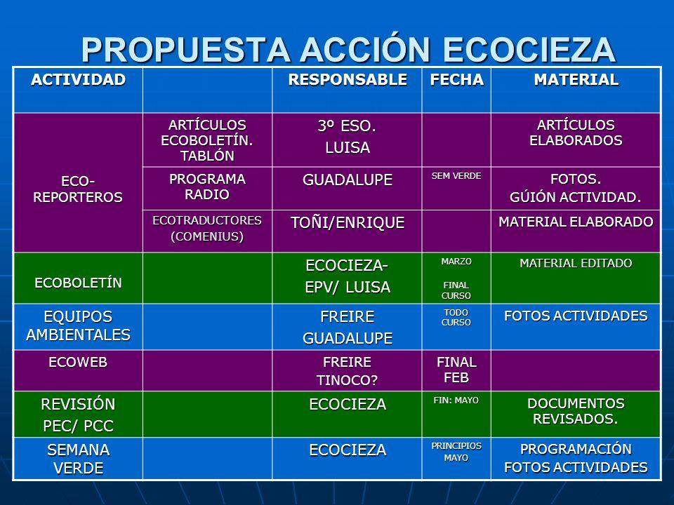 PROPUESTA ACCIÓN ECOCIEZA ACTIVIDADRESPONSABLEFECHAMATERIAL ECO- REPORTEROS ARTÍCULOS ECOBOLETÍN. TABLÓN 3º ESO. LUISA ARTÍCULOS ELABORADOS PROGRAMA R