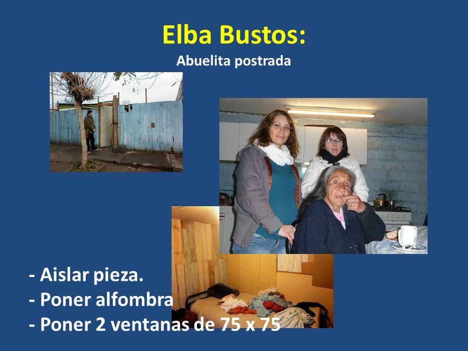 Elba Bustos: Abuelita postrada - Aislar pieza. - Poner alfombra - Poner 2 ventanas de 75 x 75