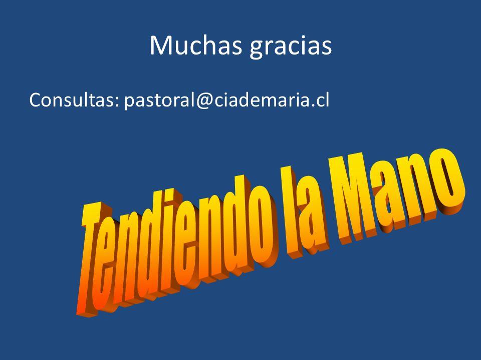 Muchas gracias Consultas: pastoral@ciademaria.cl