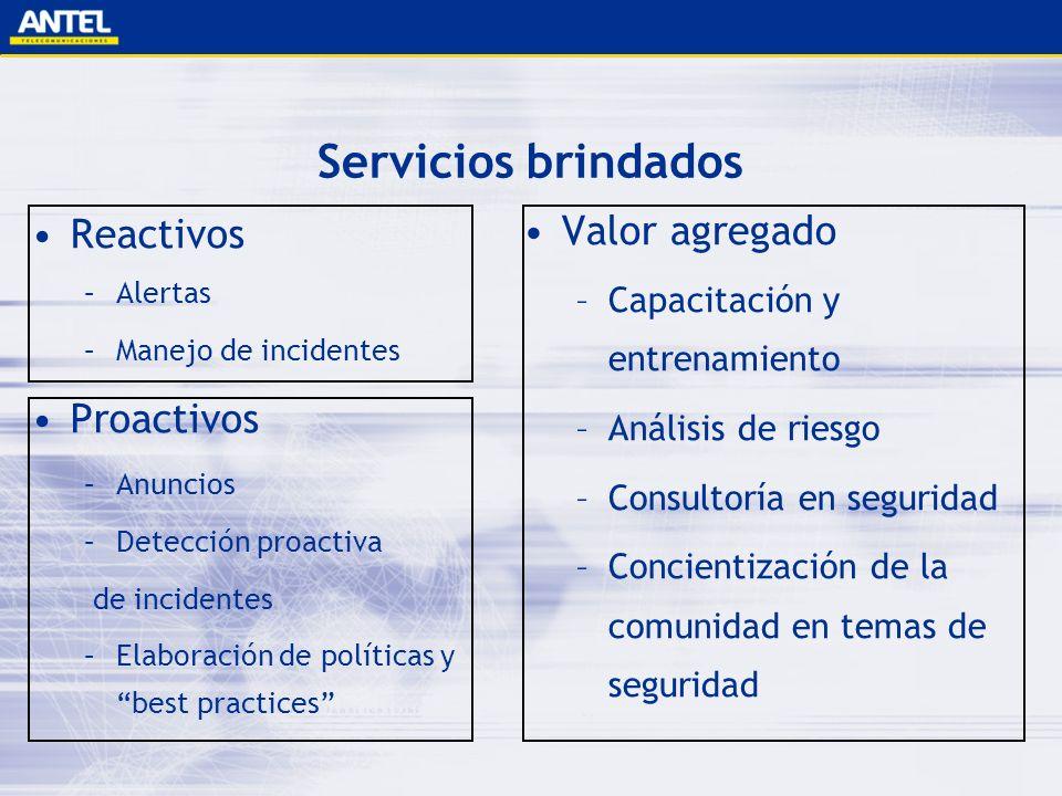 Servicios brindados Reactivos –Alertas –Manejo de incidentes Proactivos –Anuncios –Detección proactiva de incidentes –Elaboración de políticas y best