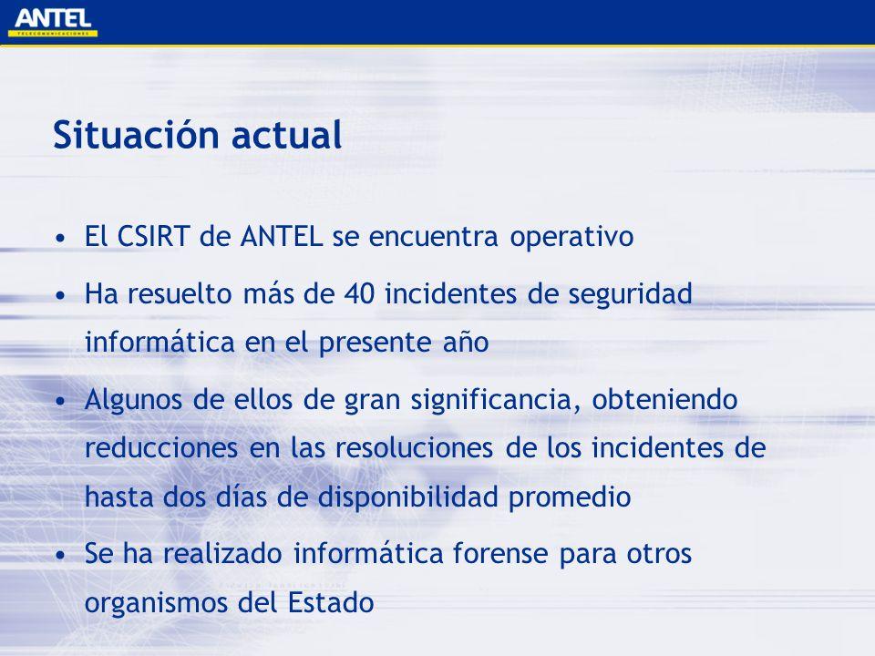 Situación actual El CSIRT de ANTEL se encuentra operativo Ha resuelto más de 40 incidentes de seguridad informática en el presente año Algunos de ello
