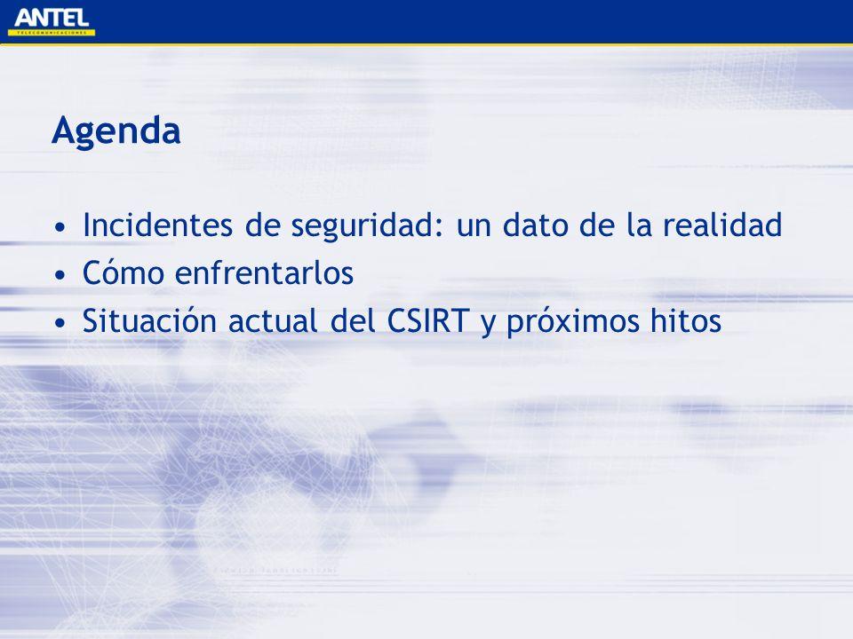 Agenda Incidentes de seguridad: un dato de la realidad Cómo enfrentarlos Situación actual del CSIRT y próximos hitos