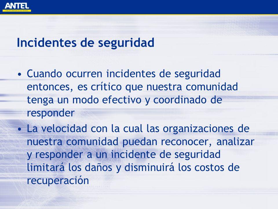 Incidentes de seguridad Cuando ocurren incidentes de seguridad entonces, es crítico que nuestra comunidad tenga un modo efectivo y coordinado de respo