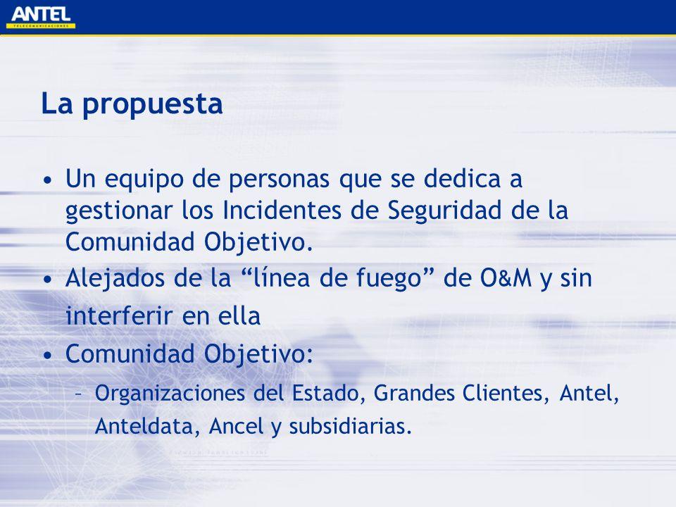 La propuesta Un equipo de personas que se dedica a gestionar los Incidentes de Seguridad de la Comunidad Objetivo. Alejados de la línea de fuego de O