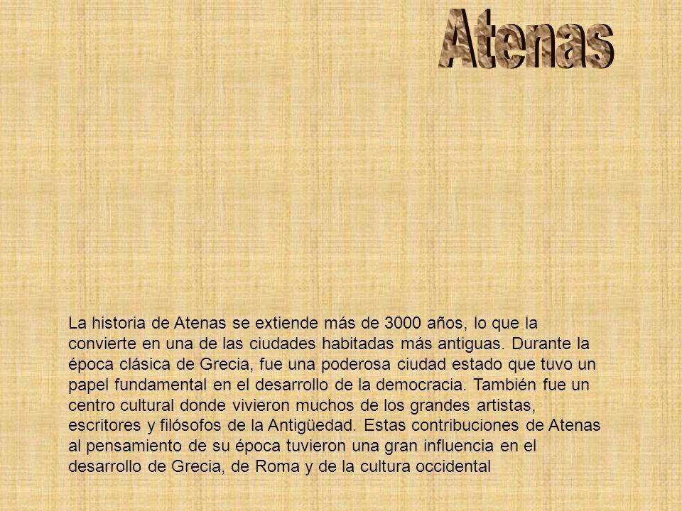 La historia de Atenas se extiende más de 3000 años, lo que la convierte en una de las ciudades habitadas más antiguas. Durante la época clásica de Gre