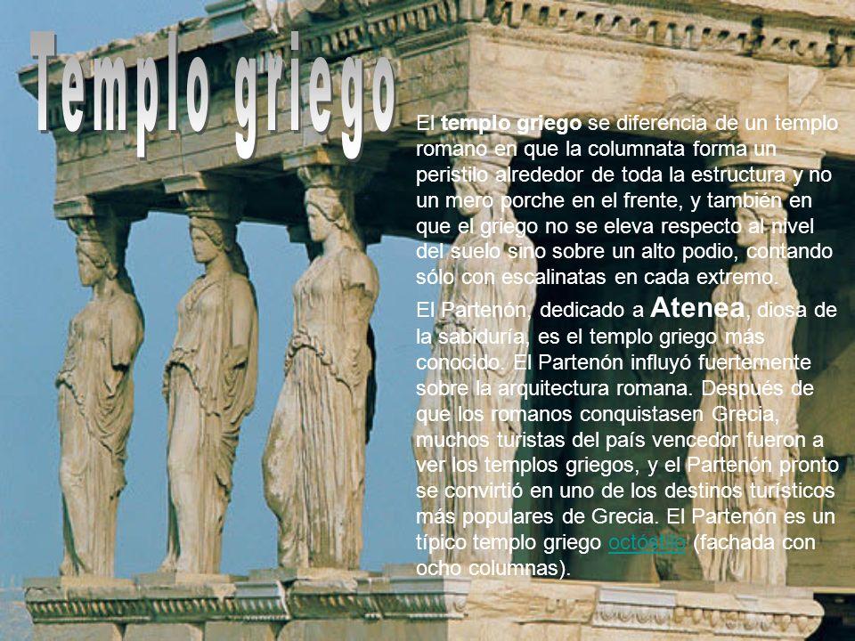 El templo griego se diferencia de un templo romano en que la columnata forma un peristilo alrededor de toda la estructura y no un mero porche en el fr