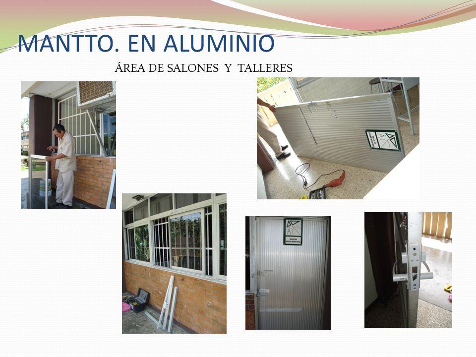 MANTTO. EN ALUMINIO ÁREA DE SALONES Y TALLERES