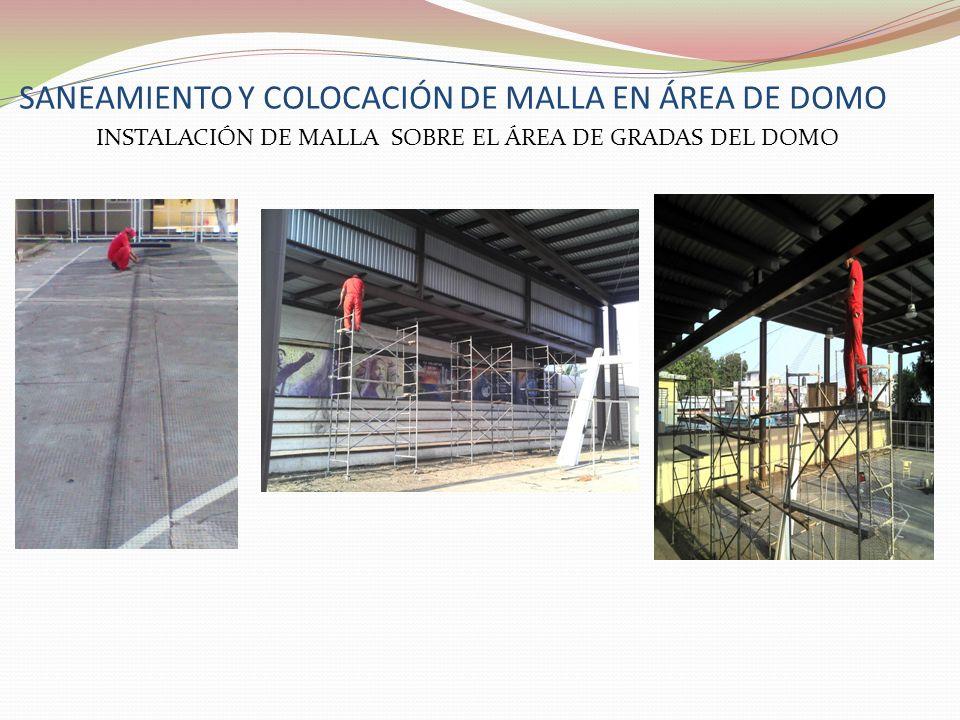 SANEAMIENTO Y COLOCACIÓN DE MALLA EN ÁREA DE DOMO INSTALACIÓN DE MALLA SOBRE EL ÁREA DE GRADAS DEL DOMO