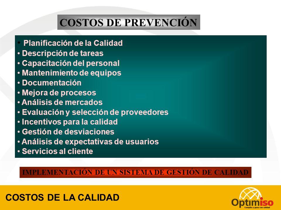COSTOS CONTROLABLES INVERSIÓN COSTOS DE LA CALIDAD COSTOS DE LA NO CALIDAD COSTOS DE PREVENCIÓN COSTOS DE EVALUACIÓN COSTOS DE FALLAS INTERNAS COSTOS