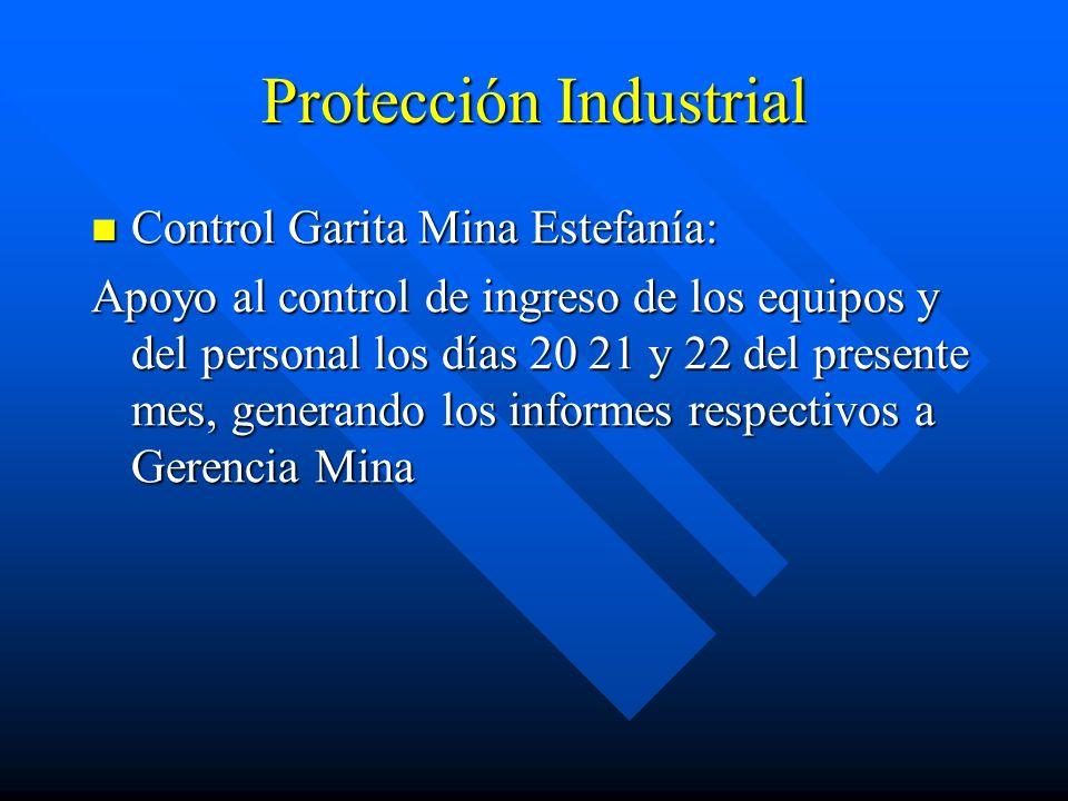 Protección Industrial Control Garita Mina Estefanía: Control Garita Mina Estefanía: Apoyo al control de ingreso de los equipos y del personal los días 20 21 y 22 del presente mes, generando los informes respectivos a Gerencia Mina