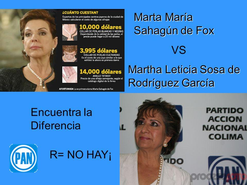 Marta María Sahagún de Fox VS Martha Leticia Sosa de Rodríguez García Encuentra la Diferencia R= NO HAY¡
