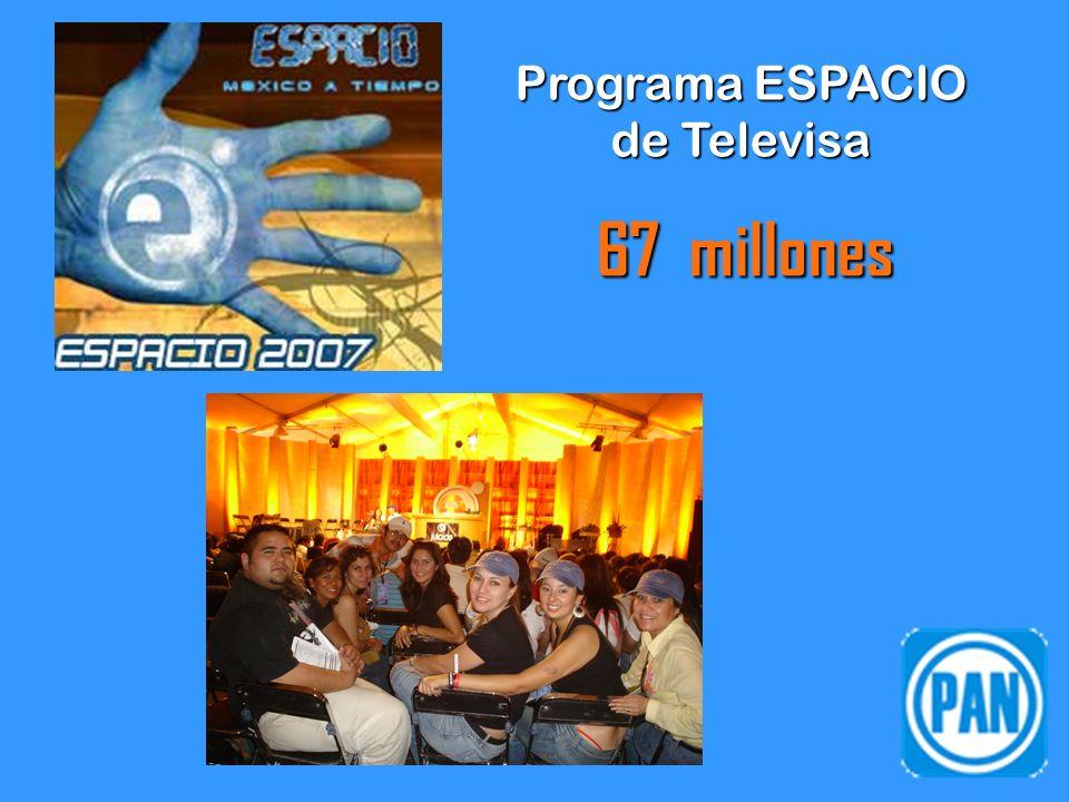 Programa ESPACIO de Televisa 67 millones