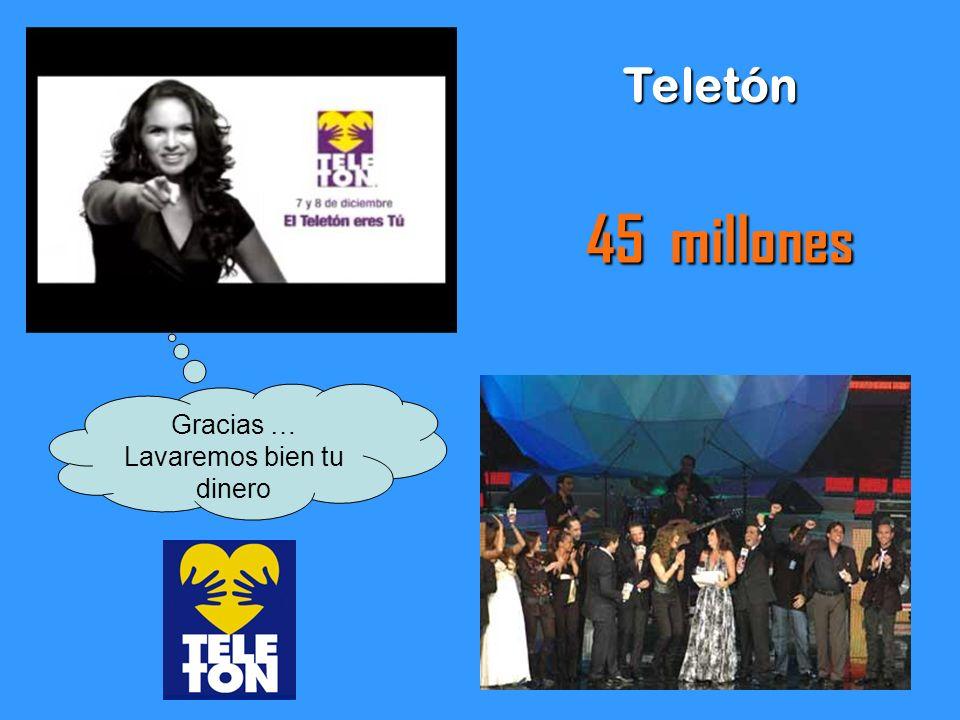 Teletón 45 millones Gracias … Lavaremos bien tu dinero