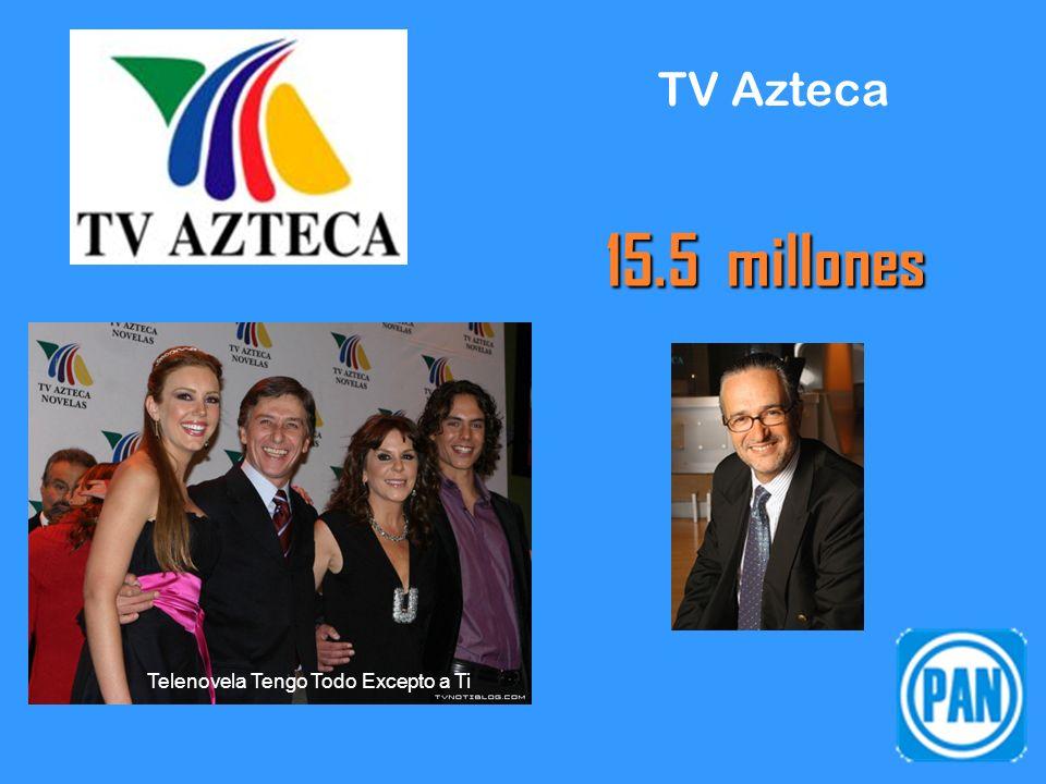 15.5 millones TV Azteca Telenovela Tengo Todo Excepto a Ti