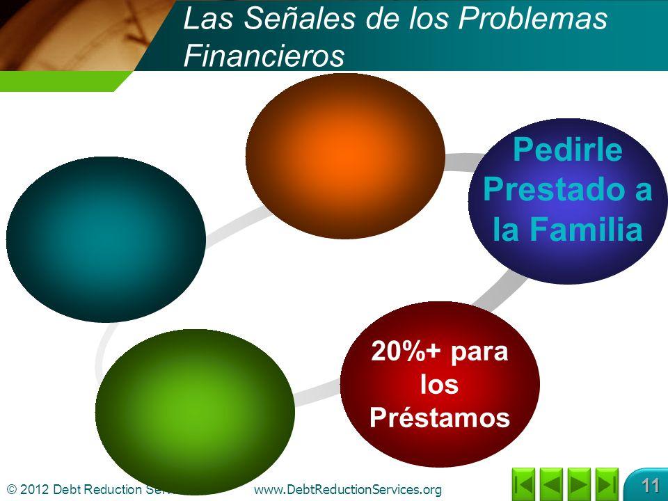 © 2012 Debt Reduction Services Inc www.DebtReductionServices.org 11 Pedirle Prestado a la Familia 20%+ para los Préstamos Las Señales de los Problemas Financieros
