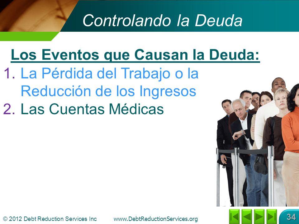 © 2012 Debt Reduction Services Inc www.DebtReductionServices.org 34 Controlando la Deuda 1.La Pérdida del Trabajo o la Reducción de los Ingresos 2.Las Cuentas Médicas Los Eventos que Causan la Deuda: