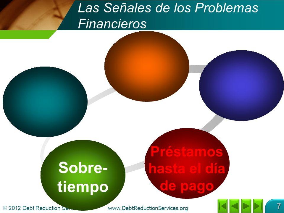 © 2012 Debt Reduction Services Inc www.DebtReductionServices.org 7 Sobre- tiempo Préstamos hasta el día de pago Las Señales de los Problemas Financieros