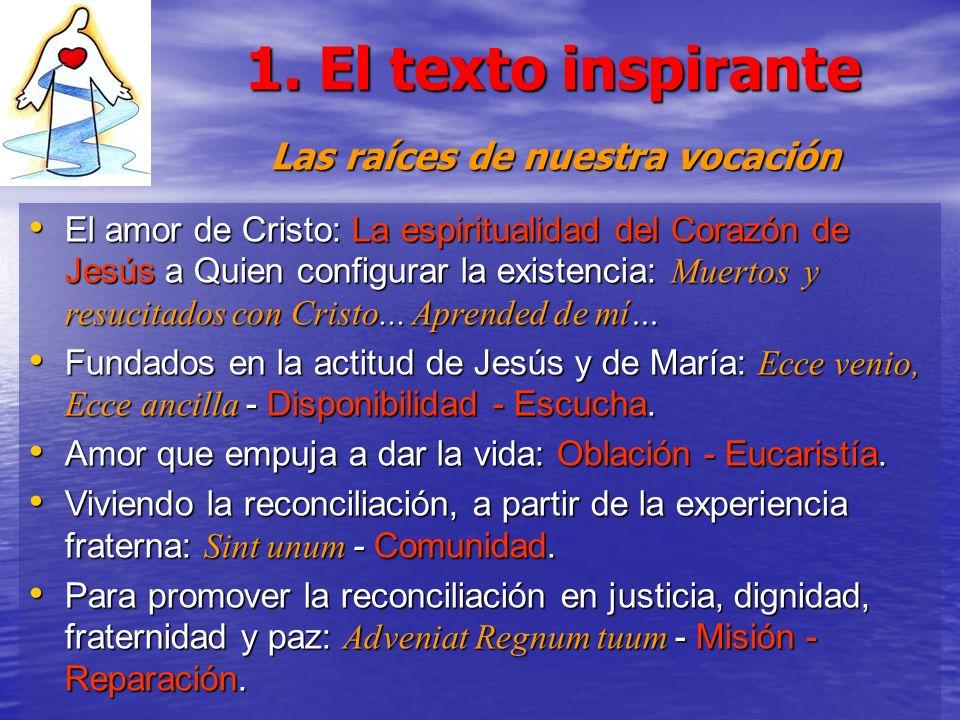 1. El texto inspirante Las raíces de nuestra vocación El amor de Cristo: La espiritualidad del Corazón de Jesús a Quien configurar la existencia: Muer