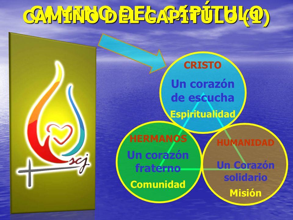 CRISTO Un corazón de escucha Espiritualidad HERMANOS Un corazón fraterno Comunidad HUMANIDAD Un Corazón solidario Misión CAMINO DEL CAPÍTULO CAMINO DE