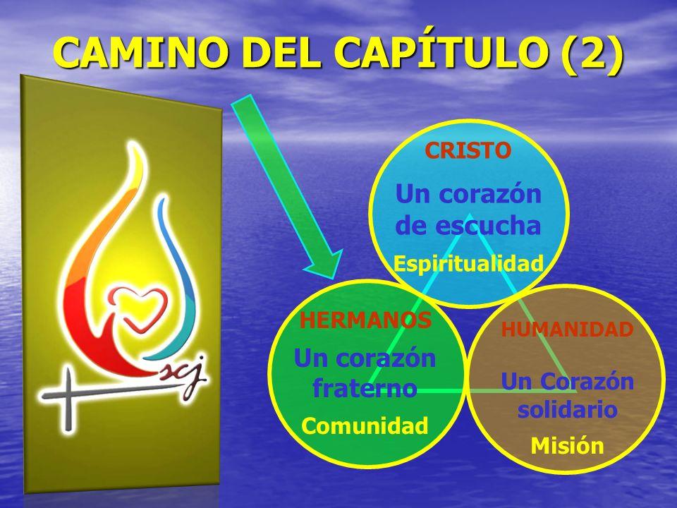 CRISTO Un corazón de escucha Espiritualidad HERMANOS Un corazón fraterno Comunidad HUMANIDAD Un Corazón solidario Misión CAMINO DEL CAPÍTULO (2)