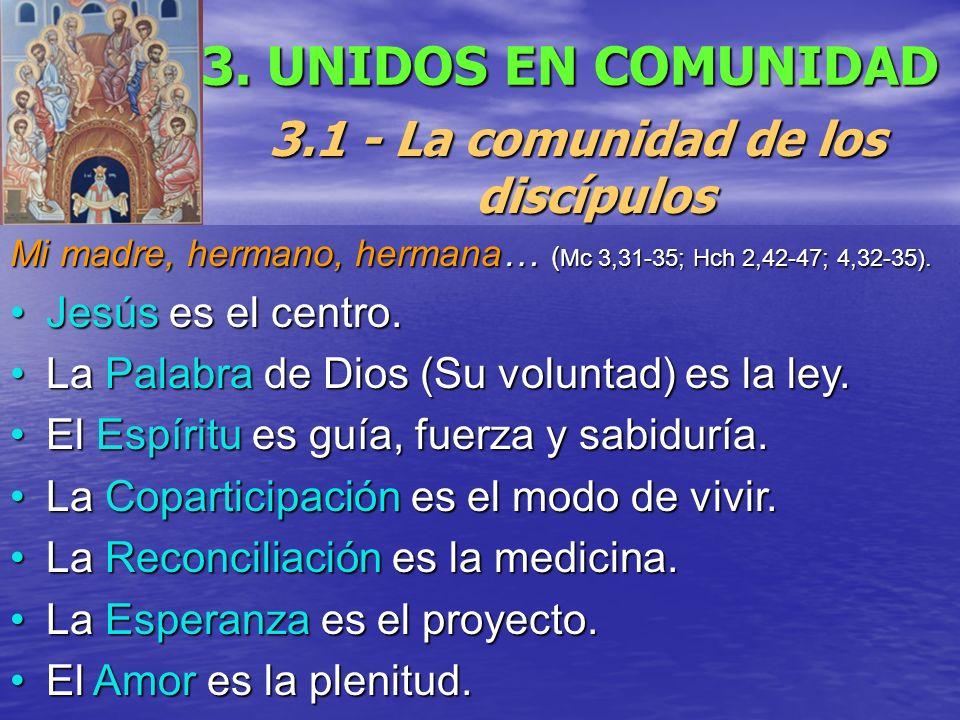 3. UNIDOS EN COMUNIDAD 3.1 - La comunidad de los discípulos Mi madre, hermano, hermana… ( Mc 3,31-35; Hch 2,42-47; 4,32-35). Jesús es el centro.Jesús