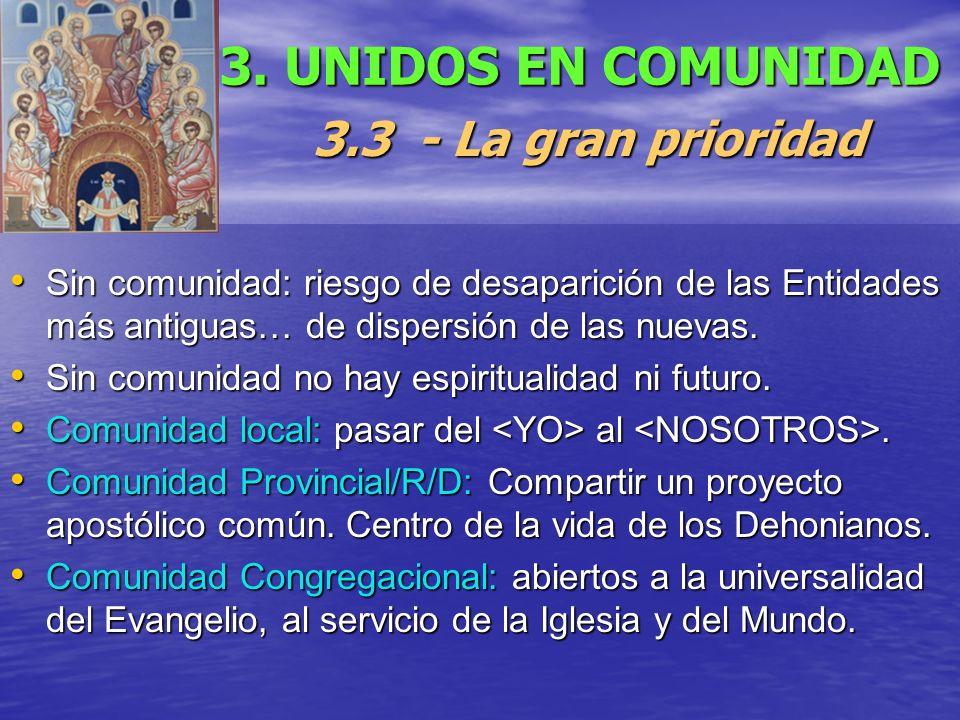 3. UNIDOS EN COMUNIDAD 3.3 - La gran prioridad Sin comunidad: riesgo de desaparición de las Entidades más antiguas… de dispersión de las nuevas. Sin c