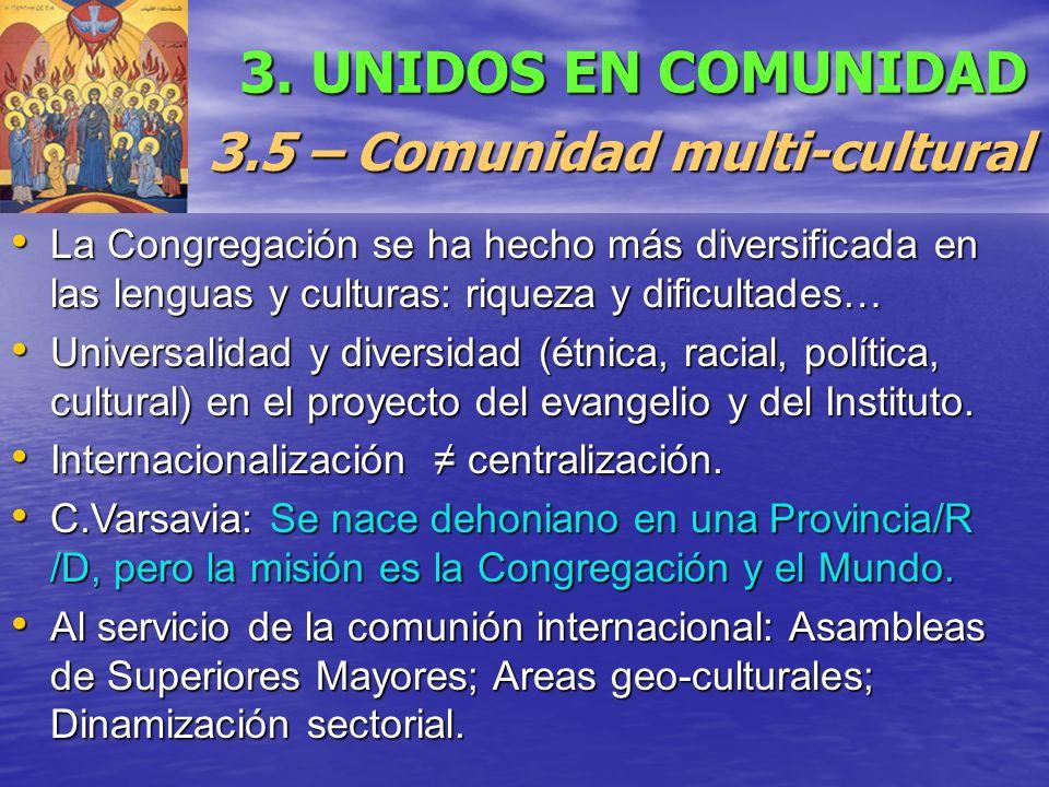 3. UNIDOS EN COMUNIDAD 3.5 – Comunidad multi-cultural La Congregación se ha hecho más diversificada en las lenguas y culturas: riqueza y dificultades…