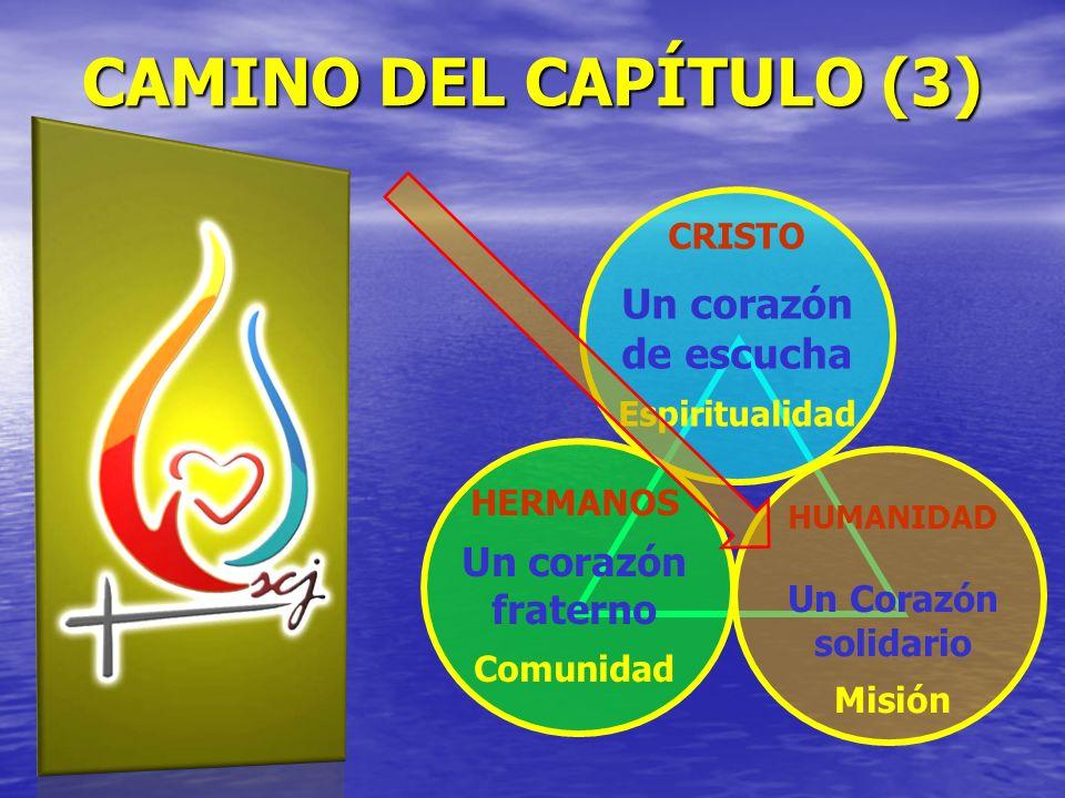 CRISTO Un corazón de escucha Espiritualidad HERMANOS Un corazón fraterno Comunidad HUMANIDAD Un Corazón solidario Misión CAMINO DEL CAPÍTULO (3)