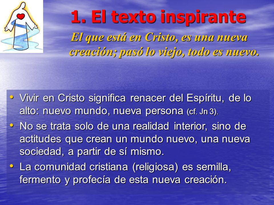 1. El texto inspirante El que está en Cristo, es una nueva creación; pasó lo viejo, todo es nuevo. Vivir en Cristo significa renacer del Espíritu, de