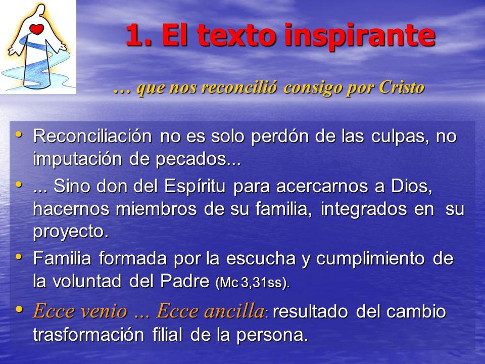 1. El texto inspirante … que nos reconcilió consigo por Cristo Reconciliación no es solo perdón de las culpas, no imputación de pecados... Reconciliac