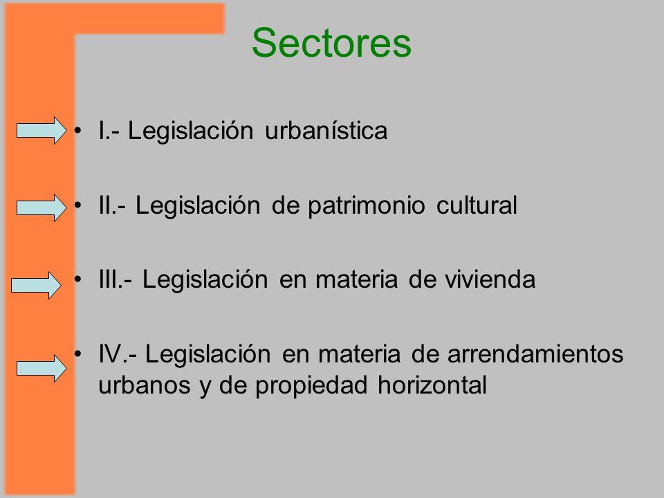 Sectores I.- Legislación urbanística II.- Legislación de patrimonio cultural III.- Legislación en materia de vivienda IV.- Legislación en materia de arrendamientos urbanos y de propiedad horizontal