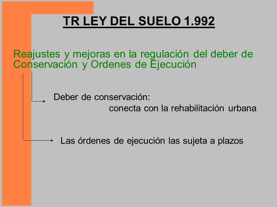 TR LEY DEL SUELO 1.992 Reajustes y mejoras en la regulación del deber de Conservación y Ordenes de Ejecución Deber de conservación: conecta con la rehabilitación urbana Las órdenes de ejecución las sujeta a plazos
