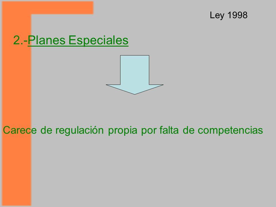 2.-Planes Especiales Ley 1998 Carece de regulación propia por falta de competencias