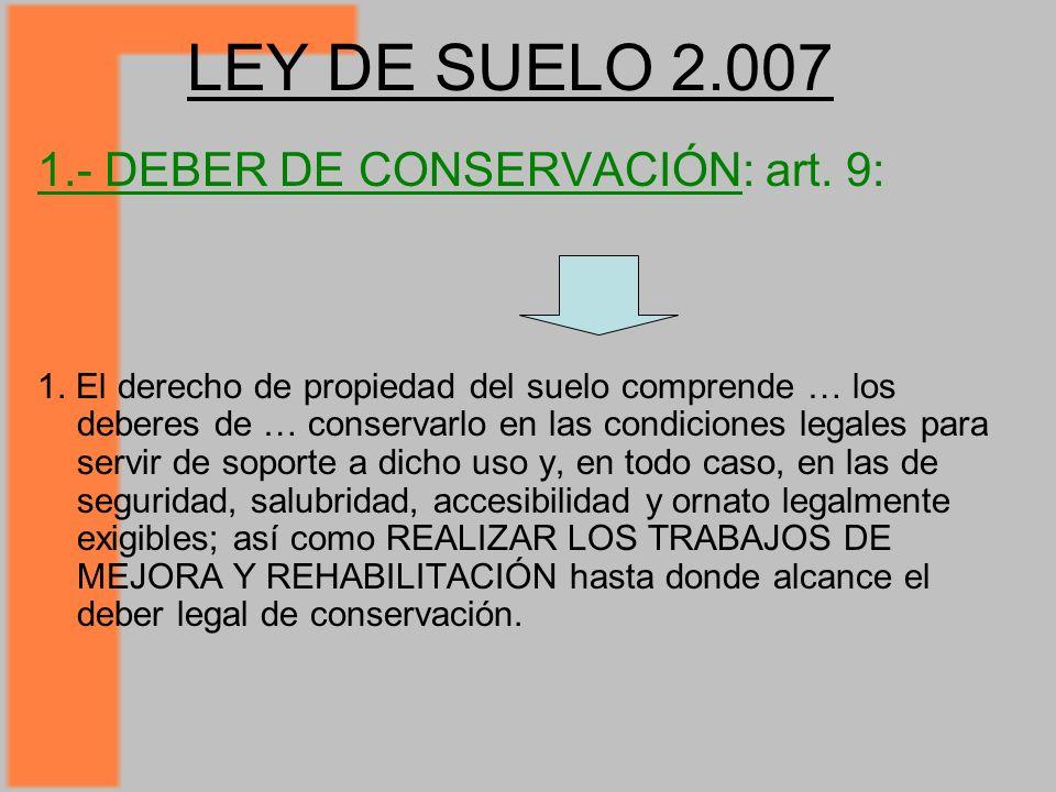 LEY DE SUELO 2.007 1.- DEBER DE CONSERVACIÓN: art.