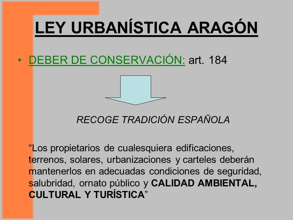 LEY URBANÍSTICA ARAGÓN DEBER DE CONSERVACIÓN: art.
