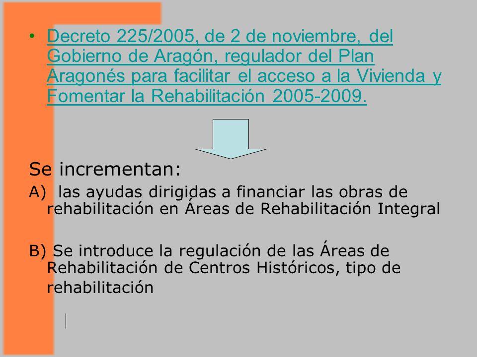 Decreto 225/2005, de 2 de noviembre, del Gobierno de Aragón, regulador del Plan Aragonés para facilitar el acceso a la Vivienda y Fomentar la Rehabilitación 2005-2009.Decreto 225/2005, de 2 de noviembre, del Gobierno de Aragón, regulador del Plan Aragonés para facilitar el acceso a la Vivienda y Fomentar la Rehabilitación 2005-2009.
