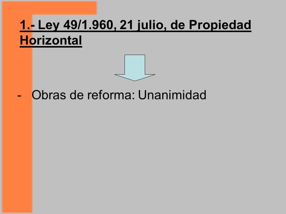 1.- Ley 49/1.960, 21 julio, de Propiedad Horizontal - Obras de reforma: Unanimidad