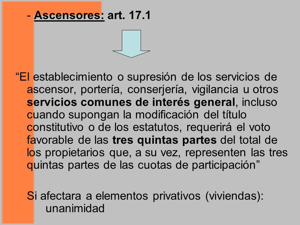 - Ascensores: art.