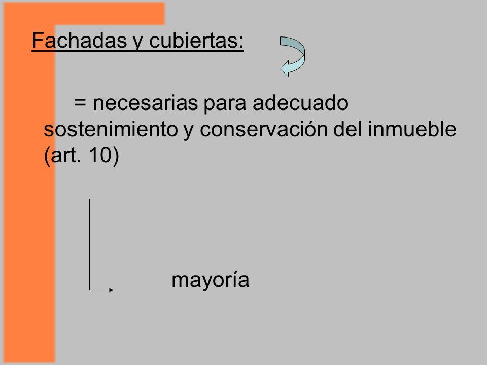 Fachadas y cubiertas: = necesarias para adecuado sostenimiento y conservación del inmueble (art.