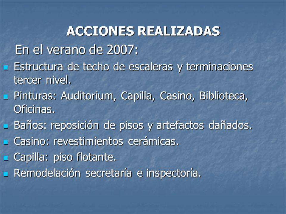 ACCIONES REALIZADAS En el verano de 2007: En el verano de 2007: Estructura de techo de escaleras y terminaciones tercer nivel.
