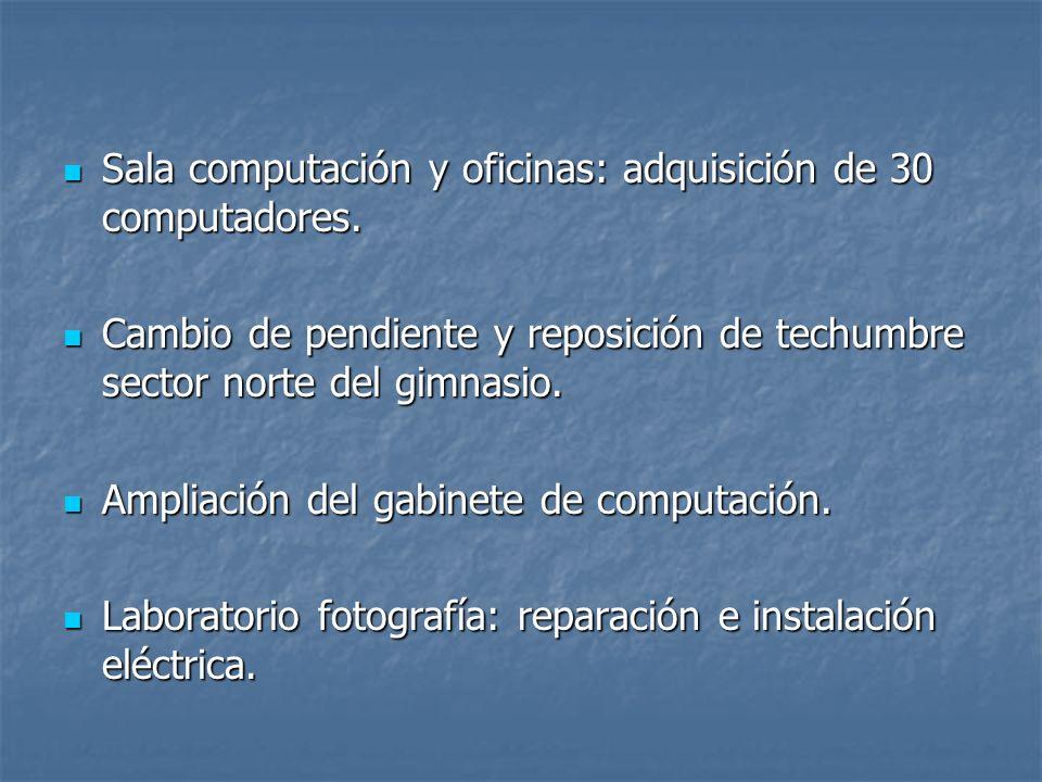 Sala computación y oficinas: adquisición de 30 computadores.