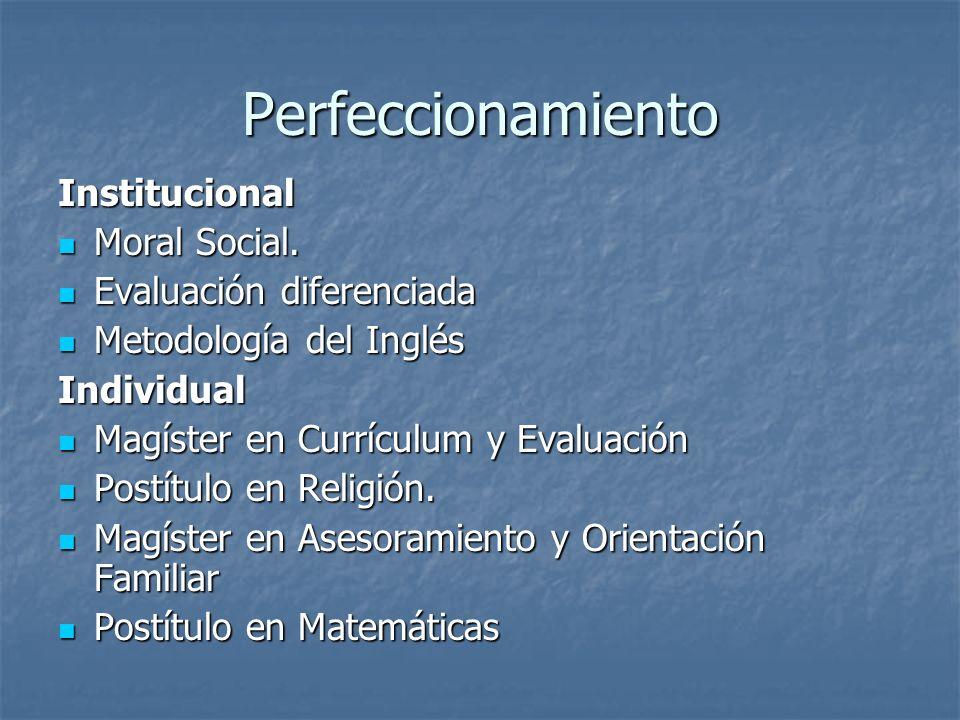 Perfeccionamiento Institucional Moral Social. Moral Social.