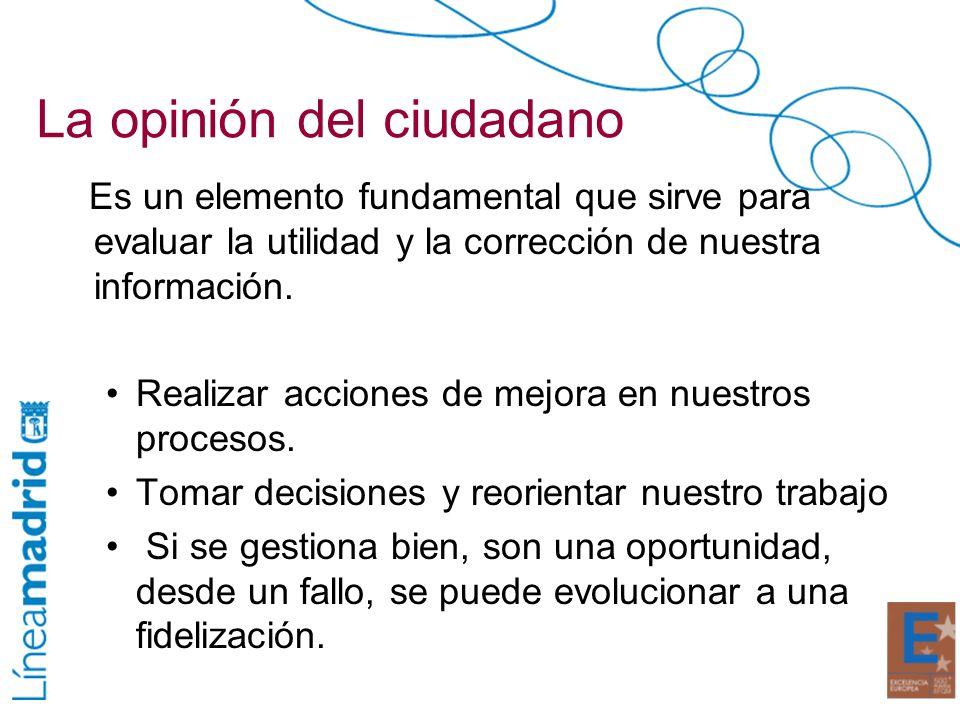 La opinión del ciudadano Es un elemento fundamental que sirve para evaluar la utilidad y la corrección de nuestra información. Realizar acciones de me